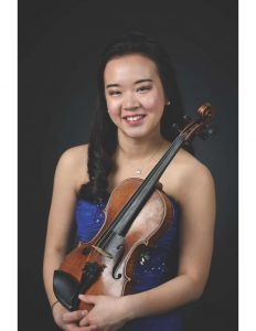 Photo of Music Department Ambassador Jiwon Lee with her violin