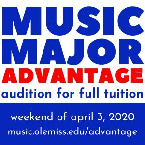 UM Music Major Advantage: Audition for Full Tuition the weekend of April 3-5, 2020